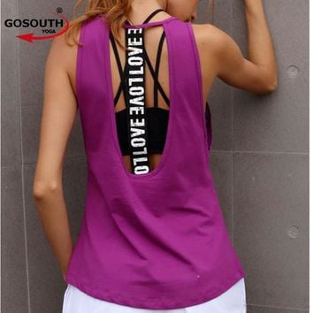 Women's Yoga Tank top  Sleeveless Running Gym Fitness Shirts Sexy Sports Vest  Workout T-Shirts G-504