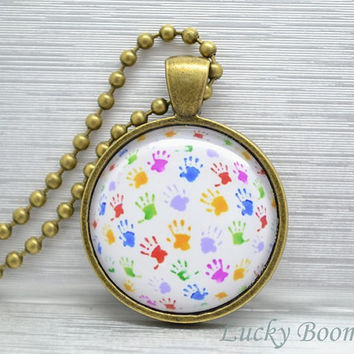 Colorful Hand plam print necklace,  Resin pendant necklace N4