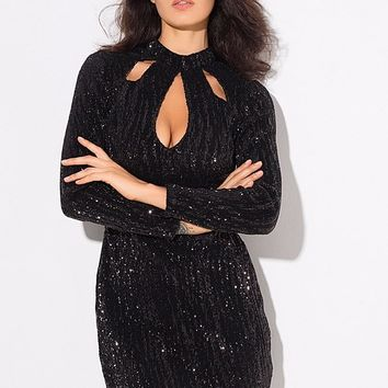 Doing It Well Black Sequin Long Sleeve Cut Out Keyhole Mock Neck Bodycon Mini Dress