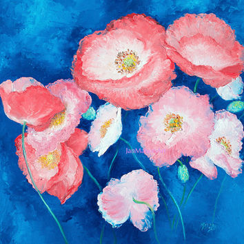Poppy Painting, canvas art, PINK POPPIES, poppy art, flower paintings, pink flowers, designer decor, living room art, Etsy Art, Jan Matson