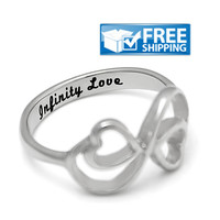"Love Gift - Double Hearts Couples Ring Engraved on Inside with ""Infinity Love"", Sizes 6 to 9"