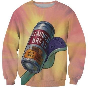Free Shipping Casual Long Sleeve Outfits Canned Bread Crewneck 3D Graphic Hipster Sweatshirt Hoodies Girl Unisex Tumblr Pullover