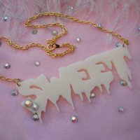 Cream SWEET Acrylic Necklace by imyourpresent on Etsy