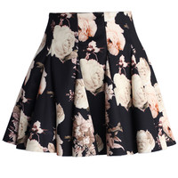 Faded Roses Mini Skater Skirt Multi