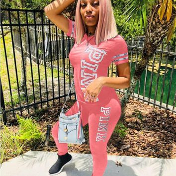 Victoria's Secret Pink Summer Hot Sale Classic Women Casual Short Sleeve Pants Set Two-Piece Pink