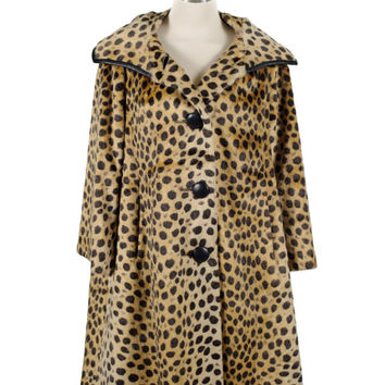 Cheetah print coat, vintage rockabilly, faux fur coat, 60s swing coat by Modelia, L/XL