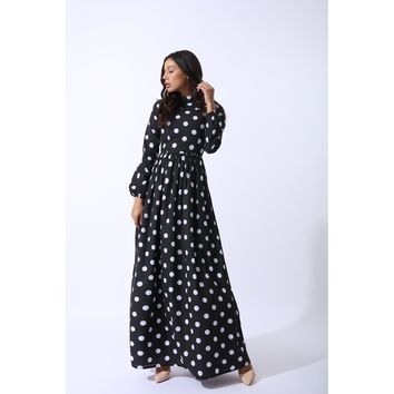 Black High Collar Long Sleeve Maxi Dress