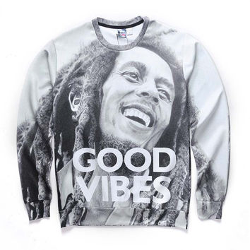 Good Vibes All Over Print Black & White Bob Marley Tribute Crew Neck Sweatshirt