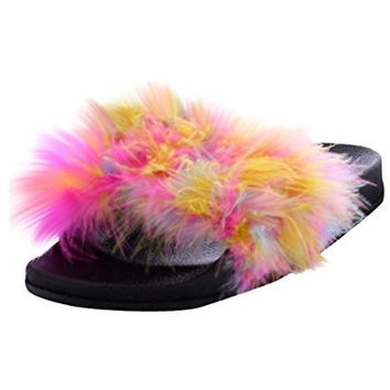 Women's Fur Sporty Slipper/Flip Flop RAINBOW
