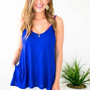 Request Time Off Flowy Tank in Cobalt