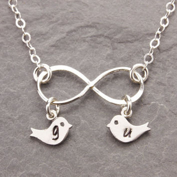 Love Necklace, love birds necklace, infinity necklace, eternity necklace, initial necklace, personalized jewelry, mother necklace, N23