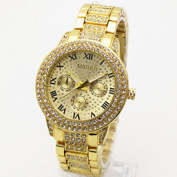 Rhinestone Watch Fashion Roman Quartz Watch [8439460355]