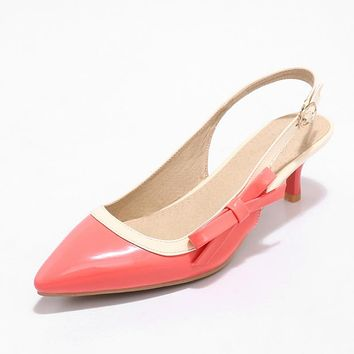 Pointed Toe Mid Heel Slingbacks Sandals Summer Shoes 3143