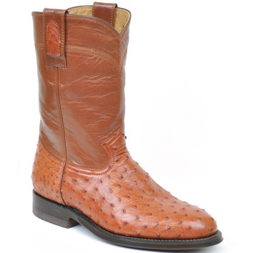 Gavel Handcrafted Women's Peanut Full Quill Ostrich Roper Round Toe Cowgirl Boots