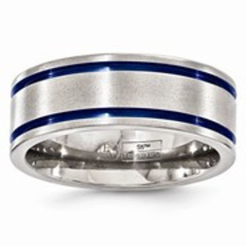 Titanium Double Groove Blue Anodized 8mm Wedding Band Ring
