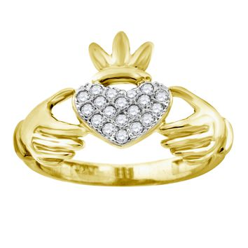 CZ Irish Claddagh Ring in 10k Yellow Gold