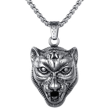 Stainless Steel Leopard W. Star Forehead Pendant Necklace