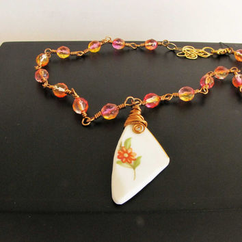 Flower Shard Vintage Glass Necklace recycled upcycled repurposed Vintage China Handmade Jewelry Peach Orange Red Wire Wrapped Crystal Glass