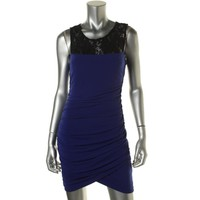 BCX Womens Lace Bodice Ruched Cocktail Dress