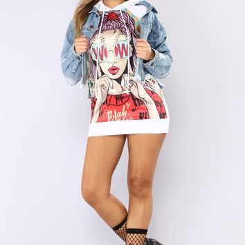 Wow Get It Girl Graphic Hoodie - White