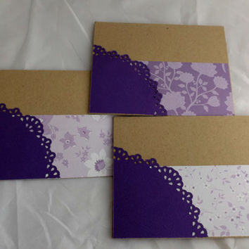 Flowers Card Set Hand Made Cards Hand Stamped Cards Blank Cards Note Cards Set of Three Cards Handmade Cards Purple Notecards Purple Cards