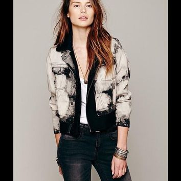 Free People Maison Denim Wool Biker Coat