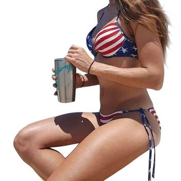 Bikini swimwear Women Summer Stars And Stripes USA Flag Bandeau swimsuit  American Swimwear beach wear plavky Push up biquini