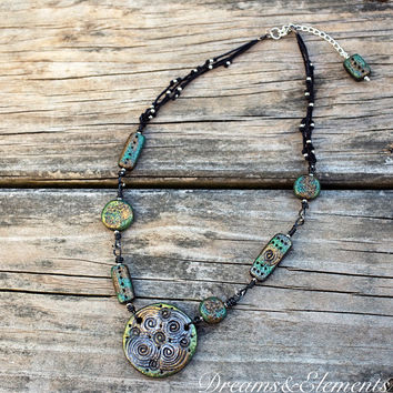 Elemental Earth Necklace made with polymer clay beads and hemp twine cord