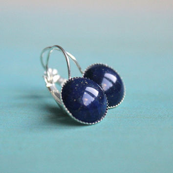 Lapis Lazuli // silver, deep blue cabochon earrings - elegant, feminine everyday jewelry - 13 mm - vintage style gift for her