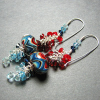 Red white and blue dangle boro bead earrings  lampwork beads sterling silver Swarovski crystals handmade ear wires  -  PATRIOTIC