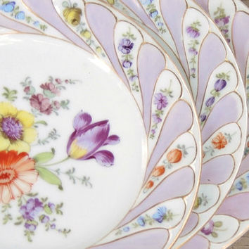Antique German Dresden Porcelain Dessert Plates, Mismatched Set of 3, Salad Plates for Tea Parties or Wedding, Wall Decor