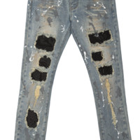 CRYSTAL RHINESTONE DENIM PANTS