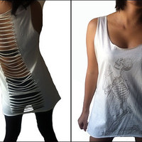 Sexy Womens Open Back Cut Out Retro Vintage Classic Skeleton on Knees Print Punk Rock Lady Tee Tank Tops T-Shirt Vest Size M