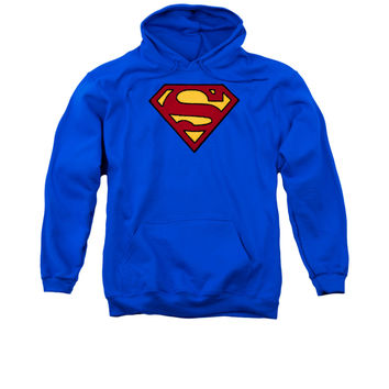 Superman Embroidered Classic Logo Mens Pullover Hoodie