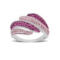 Sterling Silver Pink and Purple with Swarovski Elements Ring, Size 7