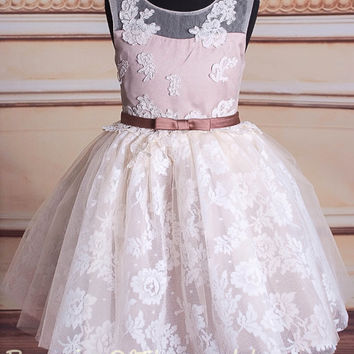 Peach lace flower girl dress,adorable flower girl dress,light pink flower girl dress,vintage inspired,wedding dress flower girl dress