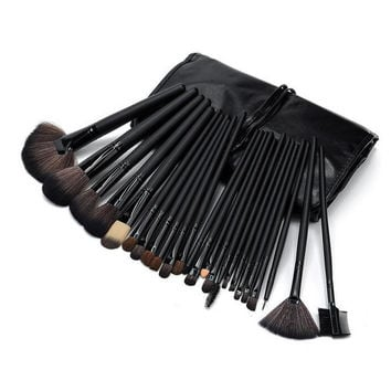 Cool Black 24pcs Makeup Brushes Set Professional Cosmetic Tool Beauty Womens Gift