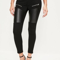 Missguided - Black Faux Leather Quilted Knee Zip Pocket Leggings