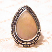 Sterling Silver with Butterscotch Amber Stone Ring Size 5 1/2