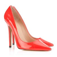 Shoes : 'Paris' Patent Leather Red Pointed Toe High Heel Pump