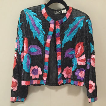 Textured Silk Jacket, Colorful Quilled Ribbon, Beaded Jacket India Silk Ribbon Quilling, Black Rayon Lined Formal Jacket Boho Art Piece M L