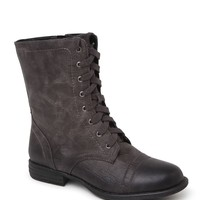 Black Poppy Over Distressed Lace Up Boots - Womens Boots