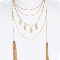 Layered Leaf & Tassel Necklace