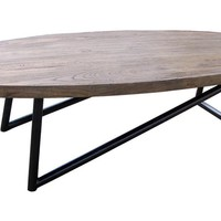 Java Coffee Table Reclaimed Elm Wood Steel Base