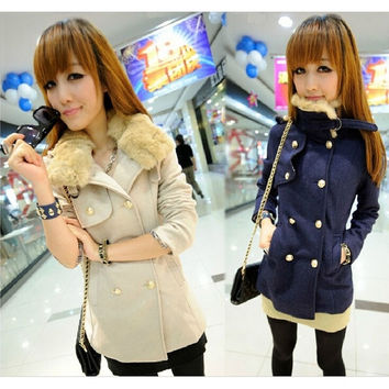 Woollen Coat for Women Double Breasted Winter = 1956231812