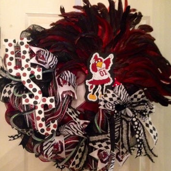 University of SC Gamecocks Wreath, Gamecocks Wreath, USC Gamecocks Wreath, Gamecocks Decor, College Wreath, SEC Gamecocks
