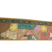VINTAGE TABLE RUNNER HOME DECOR SARI PATCHWORK EMBROIDERED WALL TAPESTRY