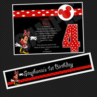 Minnie Mouse Happy Birthday Water Bottle Labels