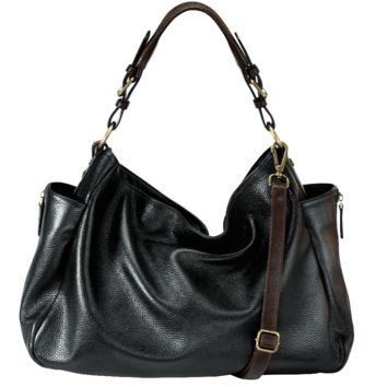 MOFE Handbags -  RHAPSODIC slouchy hobo bag Black/Brown / Genuine Leather