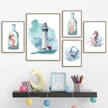 Watercolor Lighthouse Crab Seahorse Nordic Posters And Prints Wall Art Canvas Painting Wall Pictures For Living Room Home Decor